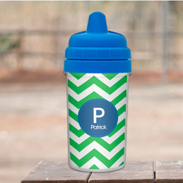 Chevron - Green & Blue Sippy Cup