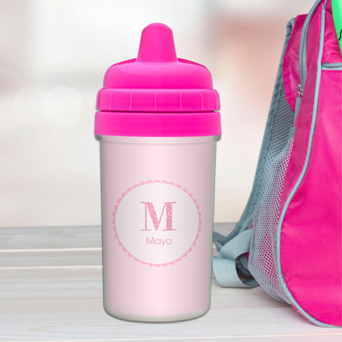 A Shiny Letter Pink Personalized Sippy Cups