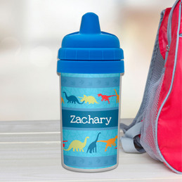 Kids Sippy Cups with Dinosaur Trail Design