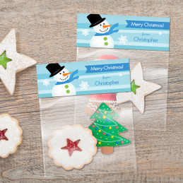 Blue Mr. Snowman Treat Bags