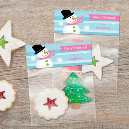 Pink Mr. Snowman Treat Bags