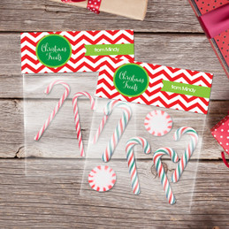 Red Xmas Chevron Treat Bags