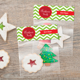 Green Xmas Chevron Treat Bags