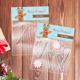 Sweet Reindeer on Blue Treat Bags
