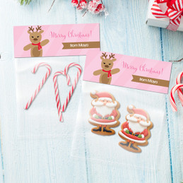Sweet Reindeer on Pink Treat Bags