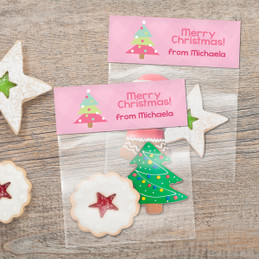 Modern Pink Xmas Tree Treat Bags