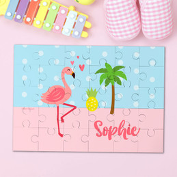 Sweet Flamingo Love Personalized Puzzles