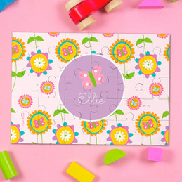 Pink Flowers Pattern Personalized Puzzles