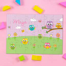 Owls on the field Personalized Puzzles