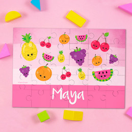 Sweet & Cute Fruits Pink Personalized Puzzles