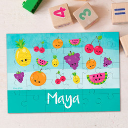Sweet & Cute Fruits Aqua Personalized Puzzles
