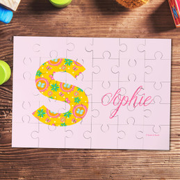 Flower Initial Personalized Puzzles