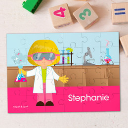 Cute Scientist Girl Personalized Puzzles