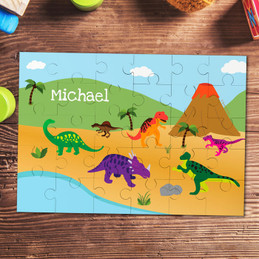 Dinosaurs in the Jungle Personalized Puzzles