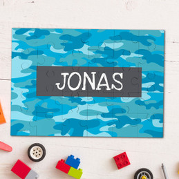 Blue Camouflage Personalized Puzzles