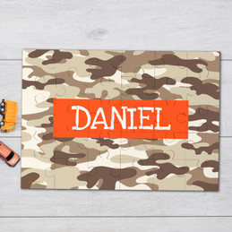 Brown Camouflage Personalized Puzzles
