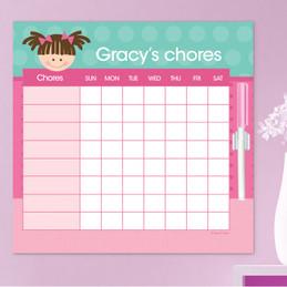Just Like Me Girl Aqua Chore Chart