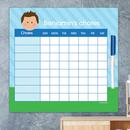 Just Like Me Boy - Lite Blue & Green Chore Chart