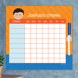 Just Like Me Boy - Orange & Blue Chore Chart