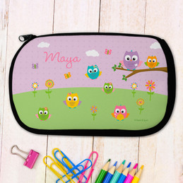 Owls on the field Pencil Case