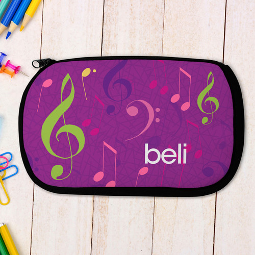 Girly Music Notes Pencil Case