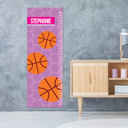 Basketball Fan - Pink Growth Chart