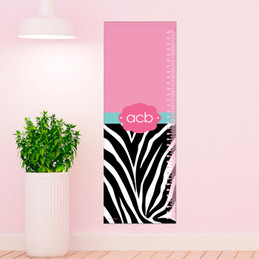 Zebra and pink Growth Chart