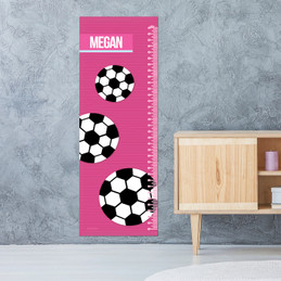 Girl Soccer Fan Pink Growth Chart