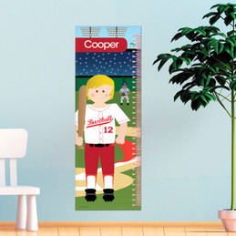 Baseball Player Kids Growth Chart