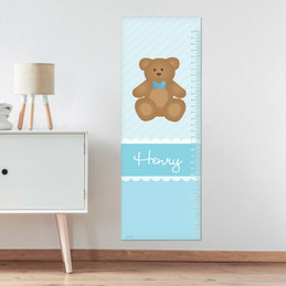 Cute Blue Teddy Bear Growth Chart