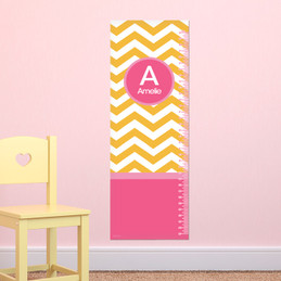 Chevron Mustard and Pink