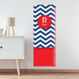Navy And Red Chevron Growth Chart