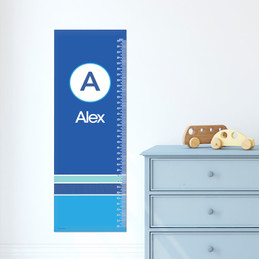 A Linen Blue Letter Growth Chart