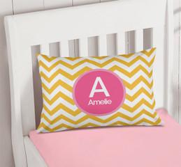 Mustard & Pink Chevron Pillowcase Cover