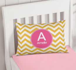 Chevron Mustard and Pink Pillowcase Cover