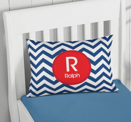 Navy And Red Chevron Pillowcase Cover