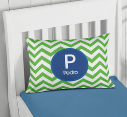 Green And Blue Chevron Pillowcase Cover