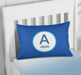 A Linen Blue Letter Pillowcase Cover