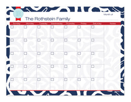 Gorgeous Blue Style Monthly Removable Wall Calendar