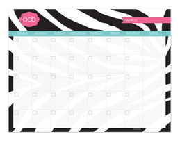 Black and pink  Zebralicious Monthly Removable Wall Calendar