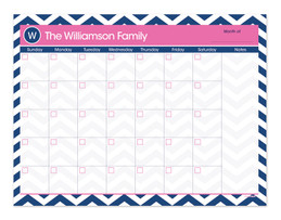 Classic Blue Pink Chevron Monthly Removable Wall Calendar