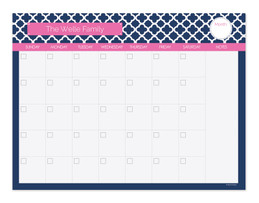 Rose Quatrefoil Beauty Monthly Removable Wall Calendar