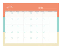 Orange Solid Wave Colors Monthly Removable Wall Calendar