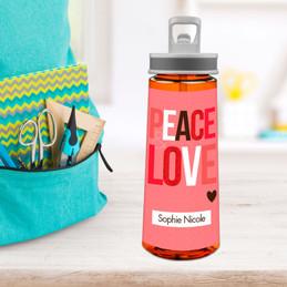 Peace & Love Sports Water Bottle