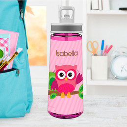 Pink Owl Be Yours Sports Water Bottle