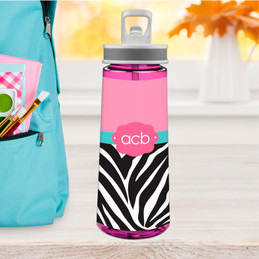 Zebra And Pink Sports Water Bottle