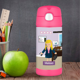 A Girl Crunching Numbers Thermos Bottle