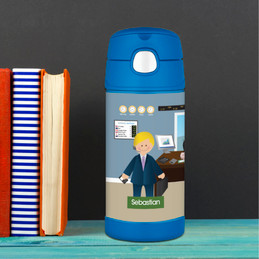Boy Crunching Numbers Thermos Bottle
