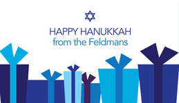 Gift Boxes In Blue Hanukkah Calling Card
