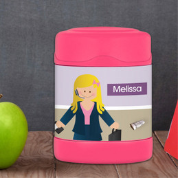 A Girl Crunching numbers Thermos Food Jar